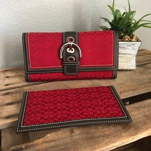 Red Coach Wallet with Checkbook Cover